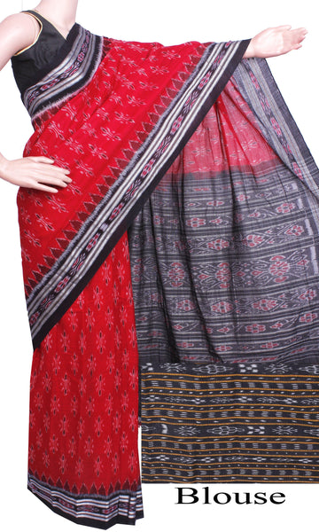 IKAT Handloom Cotton Saree with a beautiful temple border & a matching Ikkat blouse [Red & Black] - 37072A