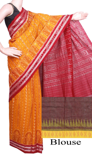 IKAT Handloom Cotton Saree with a beautiful temple border & a matching Ikkat blouse [Mustard & Red] - 37073A