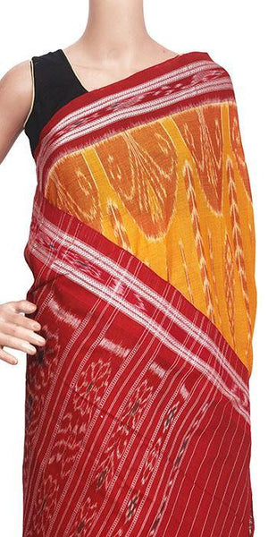 IKAT Handloom Cotton Saree with temple border & an Ikkat blouse [Mustard & Red] - 37073A, Sarees - Swadeshi Boutique
