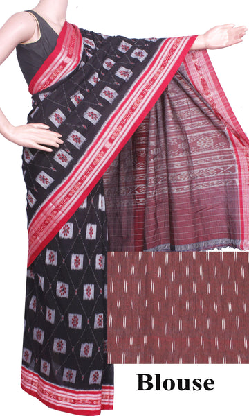 IKAT Handloom Cotton Saree with a beautiful self-design & a matching Ikkat Blouse  [Black & Red] - 37076A, Sarees - Swadeshi Boutique