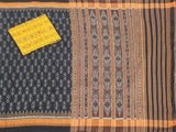 IKAT Handloom Cotton Saree with a beautiful self-design, temple border & a matching Ikkat Blouse  [Black] - 37077A, Sarees - Swadeshi Boutique