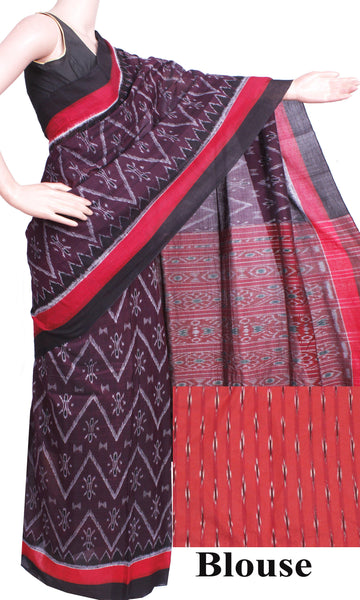 IKAT Handloom Cotton Saree with a beautiful self-design &  a matching Ikkat Blouse - 37081A, Sarees - Swadeshi Boutique