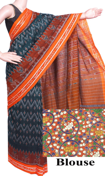 IKAT Handloom Cotton Saree with a beautiful self-design &  a matching Kalamkari Blouse  [Green & Orange] - 37082A