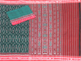 IKAT Handloom Cotton Saree with self-design &  a matching Ikkat Blouse  [Green & Red] - 37084A, Sarees - Swadeshi Boutique