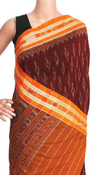 IKAT Handloom Cotton Saree with temple border & a matching Ikkat blouse - 37101A, Sarees - Swadeshi Boutique