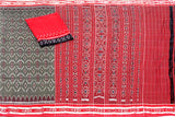 IKAT Handloom Cotton Saree with temple border & a matching Ikkat blouse - 37104A, Sarees - Swadeshi Boutique