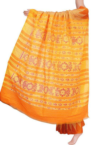 IKAT Handloom Cotton Saree with temple border & a matching Ikkat blouse - 37108A, Sarees - Swadeshi Boutique