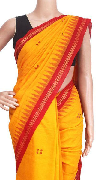 IKAT Handloom Cotton Saree with temple border & a matching Ikkat blouse - 37110A, Sarees - Swadeshi Boutique