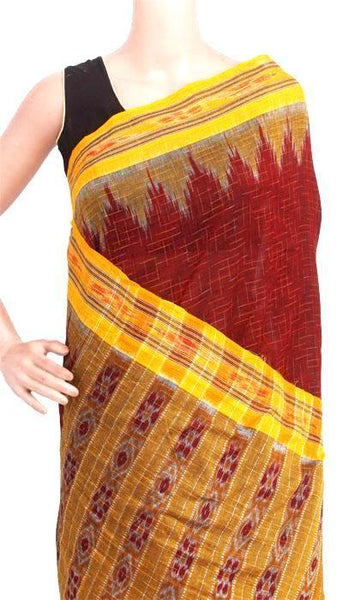 IKAT Handloom Cotton Saree with temple border & a matching Ikkat blouse - 37113A, Sarees - Swadeshi Boutique