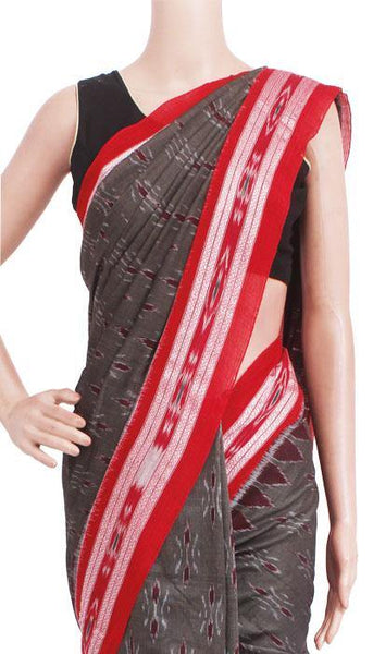 IKAT Handloom Cotton Saree with temple border & a matching Ikkat blouse - 37115A, Sarees - Swadeshi Boutique