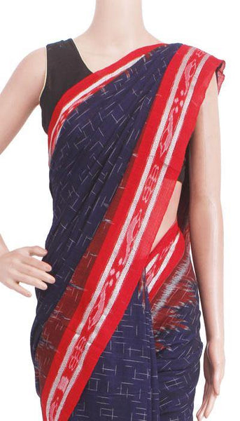 IKAT Handloom Cotton Saree with temple border & a matching Ikkat blouse - 37116A, Sarees - Swadeshi Boutique