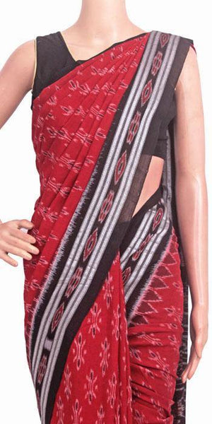 IKAT Handloom Cotton Saree with temple border & a matching Ikkat blouse - 37134A