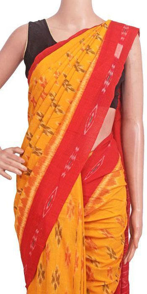 IKAT Handloom Cotton Saree with temple border & a matching Ikkat blouse - 37135A, Sarees - Swadeshi Boutique