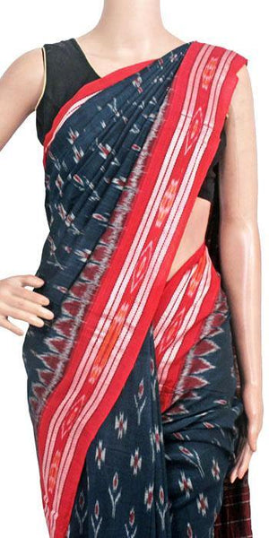 IKAT Handloom Cotton Saree with temple border & a matching Ikkat blouse - 37139A, Sarees - Swadeshi Boutique