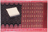 IKAT Handloom Cotton Saree with temple border & a matching Ikkat blouse - 37140A, Sarees - Swadeshi Boutique