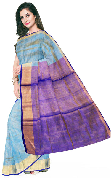 Uppada Silk saree (Tissue pattern) with a contrasting attached blouse - 38008F, Sarees - Swadeshi Boutique
