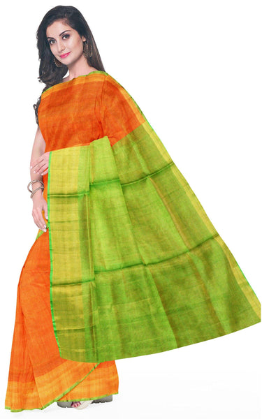 Uppada Silk saree (Tissue pattern) with a contrasting attached blouse - 38008K, Sarees - Swadeshi Boutique