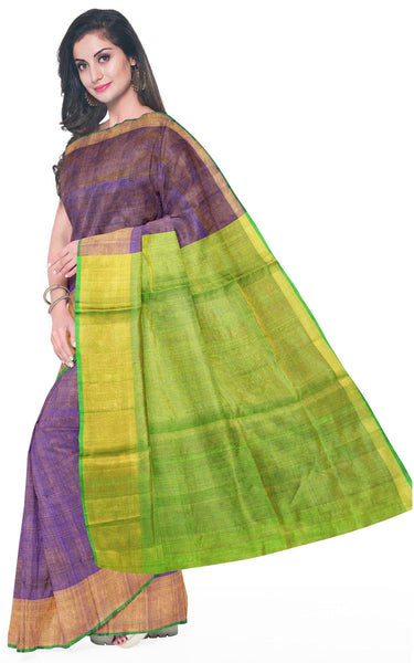 Uppada Silk saree (Tissue pattern) with a contrasting attached blouse - 38008T, Sarees - Swadeshi Boutique