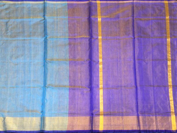 Popular Uppada Silk saree (Tissue pattern) with Zari border & a contrasting attached blouse - 38010A