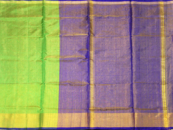 Popular Uppada Silk saree (Tissue pattern) with Zari border & a contrasting attached blouse - 38010C
