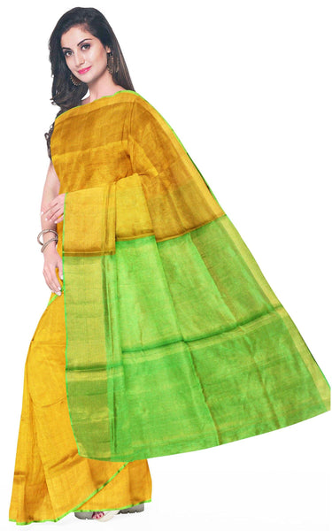 Uppada Silk saree (Tissue pattern) with a contrasting attached blouse - 38013A, Sarees - Swadeshi Boutique