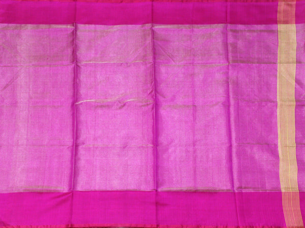 Popular Uppada Silk saree (Tissue pattern) with Zari border & a contrasting attached blouse - 38015B