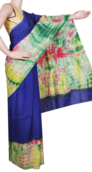Assam Silk saree with an attractive shibori print -Blue (40007D)