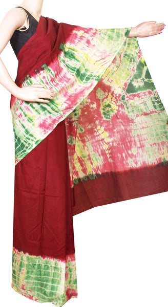 * Rs.200 off * Assam Silk saree with an attractive shibori print -Maroon (40017A)