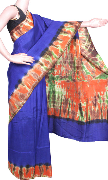 Assam Silk saree with an attractive shibori print -Blue (40018A) *Sale 50% Off*, Sarees - Swadeshi Boutique