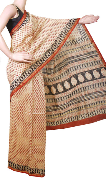* Intro price * Beautiful Chanderi Silk Saree pattern with Zari Border for all-time use with attached matching blouse (41030A)