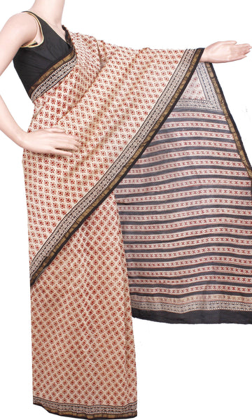 Beautiful Chanderi Silk Saree pattern with Zari Border for all-time use (41042A)