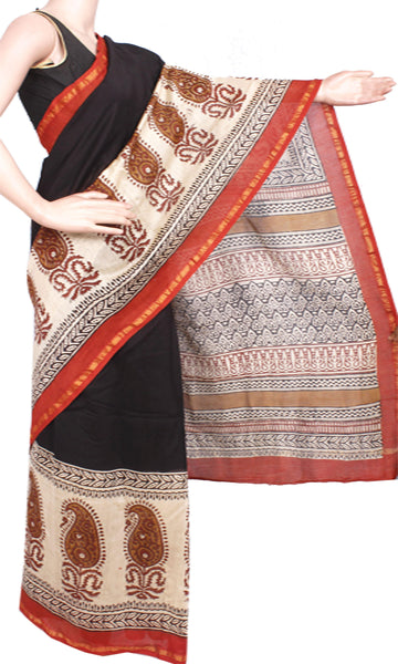 Beautiful Chanderi Silk Saree pattern with Zari Border for all-time use (41046A)