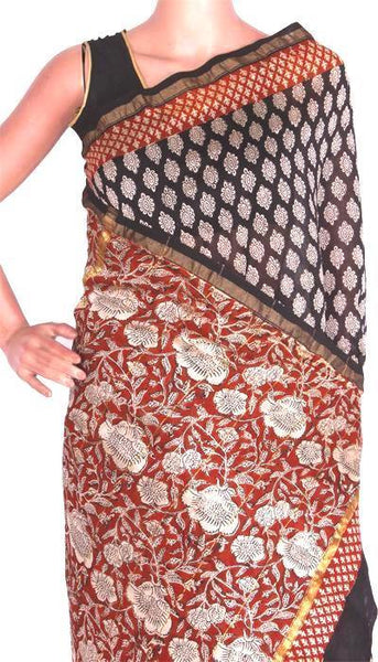 Chanderi Silk Saree pattern with Zari Border for all-time use (41047A), Sarees - Swadeshi Boutique