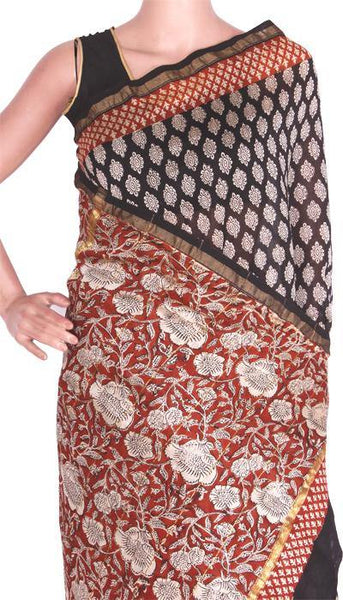 Beautiful Chanderi Silk Saree pattern with Zari Border for all-time use (41047A), Sarees - Swadeshi Boutique