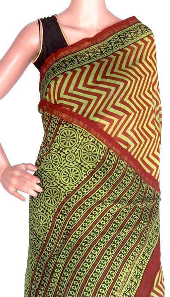 Chanderi Silk Saree pattern with Zari Border for all-time use (41048B) - Swadeshi Boutique