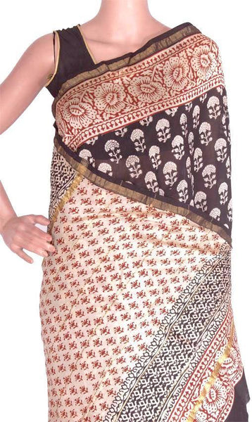 Chanderi Silk Saree pattern with Zari Border for all-time use (41049A) - Swadeshi Boutique