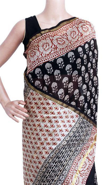 Chanderi Silk Saree pattern with Zari Border for all-time use (41049B), Sarees - Swadeshi Boutique