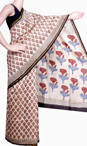 Beautiful Chanderi Silk Saree pattern with Zari Border for all-time use (41053A)