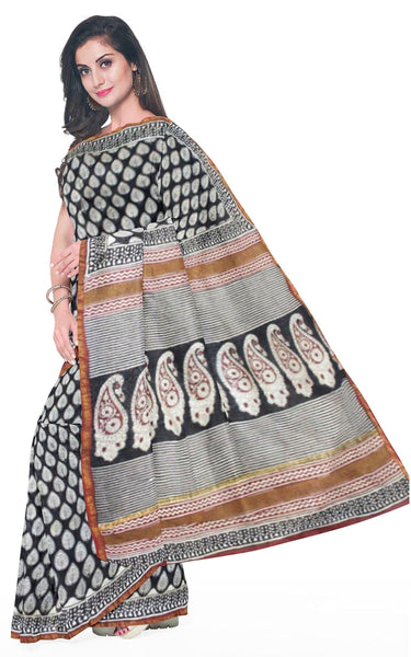Chanderi Silk Saree pattern with Zari Border for all-time use (41056C), Sarees - Swadeshi Boutique