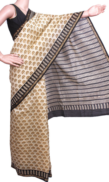 Beautiful Chanderi Silk Saree pattern with Zari Border for all-time use (41060A)
