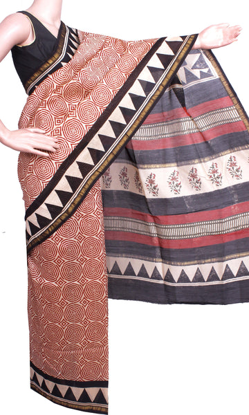 Beautiful Chanderi Silk Saree pattern with Zari Border for all-time use (41061A)