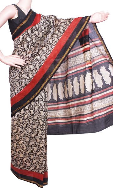 Beautiful Chanderi Silk Saree pattern with Zari Border for all-time use (41062A)
