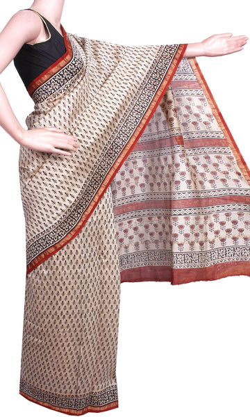 Beautiful Chanderi Silk Saree pattern with Zari Border for all-time use (41063A)