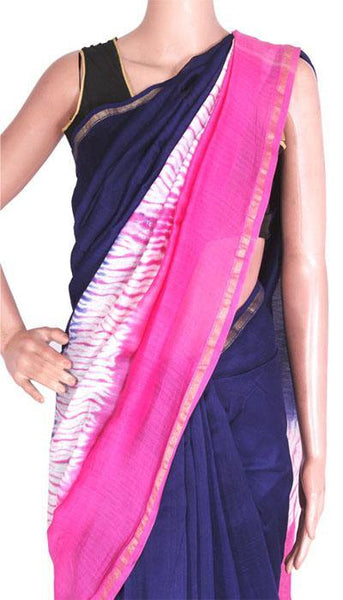 Chanderi Silk Saree pattern with Zari Border for all-time use (41066A), Sarees - Swadeshi Boutique