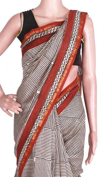 Chanderi Silk Saree pattern with Zari Border for all-time use (41068B)