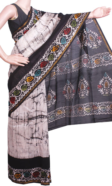 Chanderi Silk Saree pattern with Zari Border  (41070A), Sarees - Swadeshi Boutique
