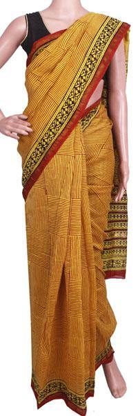 Beautiful Chanderi Silk Saree pattern with Zari Border for all-time use (41072A), Sarees - Swadeshi Boutique