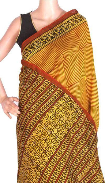 Chanderi Silk Saree with Zari Border and attached blouse for all-time use (41072B), Sarees - Swadeshi Boutique
