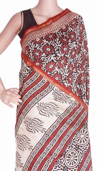 Chanderi Silk Saree pattern with Zari Border for all-time use (41078A), Sarees - Swadeshi Boutique