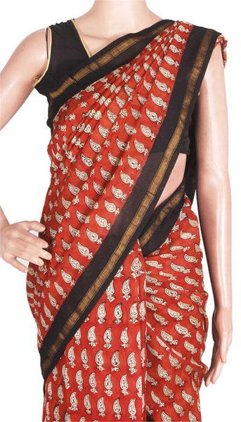 Chanderi Silk Saree pattern with Zari Border for all-time use (41079A), Sarees - Swadeshi Boutique